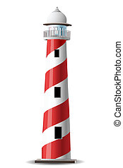 light house - illustration of light house on white...