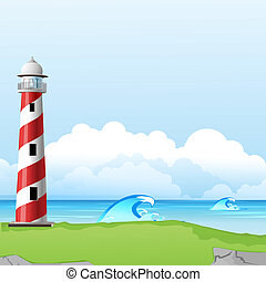 illustration of light house with sea