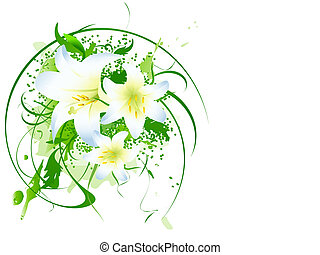 illustration of lily bouquet with swirls and copyspace against white background