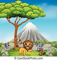 lion in the jungle with mountain scene