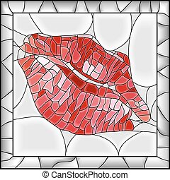 Mosaic illustration of lip imprint stained glass window with frame.