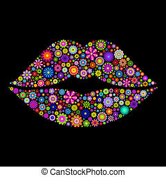 Illustration of lips on black background