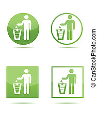 Litter sign - Illustration of Litter signs in green isolated...