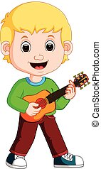 Little boy cartoon playing guitar