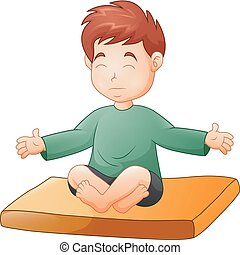 Little boy doing yoga pose on white background