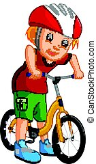 little boy driving bicycle