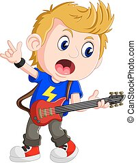 Little boy playing guitar - illustration of Little boy...