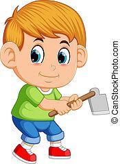 Little boy with garden hoe