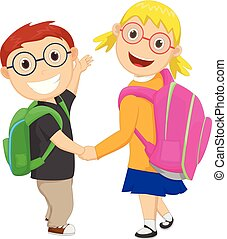 little boy with girl walking to school carrying a bag pack