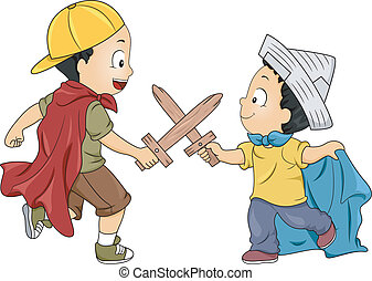 Little Boys Playing Knight - Illustration of Little Boys...