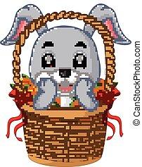 Little cartoon rabbit sitting in a bucket