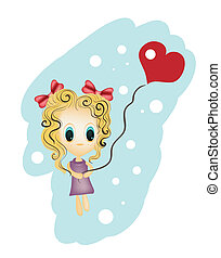 Illustration of little girl holding a heart shaped balloon