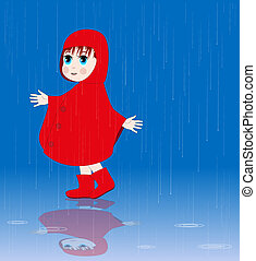 little girl with red raincoat