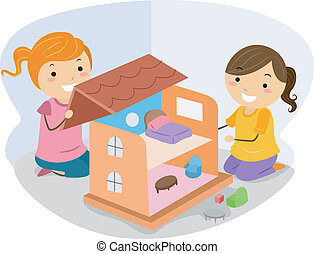 Girls Playing with a Dollhouse - Illustration of Little...