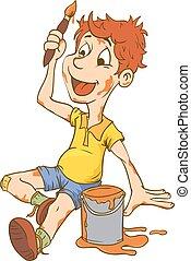 Illustration of Little Kid Boy Carrying an Art Brush