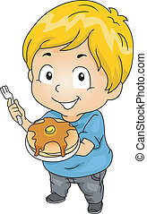 Kid Boy with a Plate of Pancakes