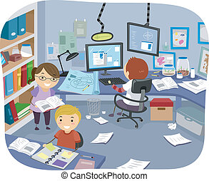 Experiment Room - Illustration of Little Kids Doing Some...