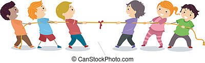 Illustration of Little Kids playing Tug of War