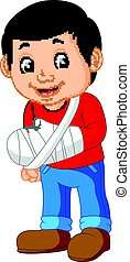 little man with broken arm - illustration of little man with...
