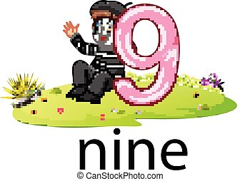little pantomime playing with the 9 balloon number and text on the grass