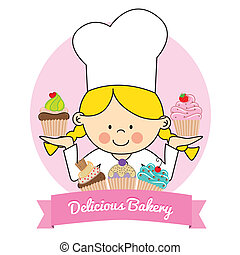 Illustration of Little pastry girl