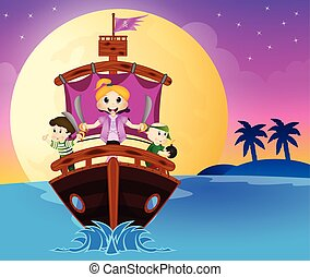 Illustration of little pirates sail