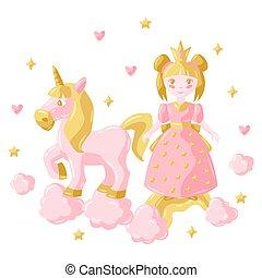 Illustration of little princess and unicorn.