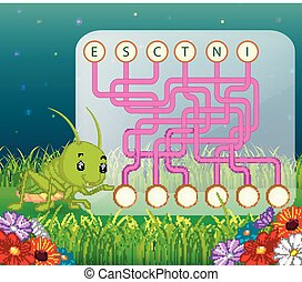Logic puzzle game for study English with grasshopper
