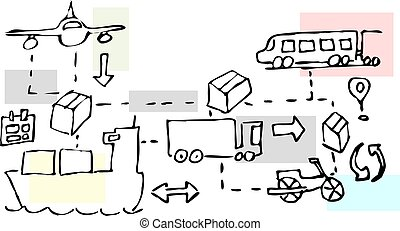 Illustration of logistics transport movements