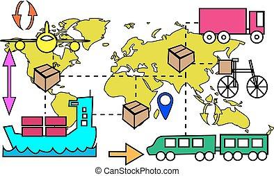 Illustration of logistics transport movements with world map