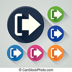 logout circle icons with shadow - Illustration of logout...