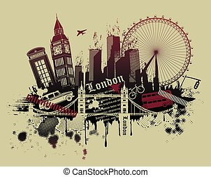 London landmarks in grunge style