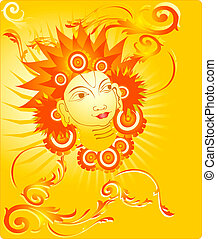 Lord Agni in floral background - Illustration of Lord Agni...