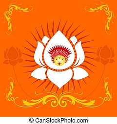 Lord Buddha face in lotus flower