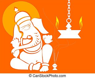 Lord Ganesha - Illustration of Lord Ganesha in golden frame...