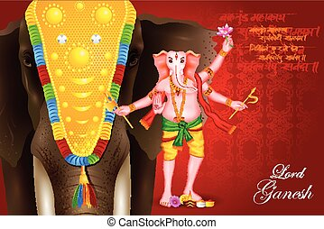 illustration of Lord Ganesha - easy to edit vector...