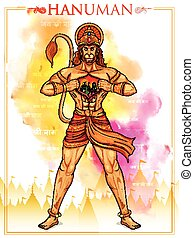 Lord Hanuman - illustration of Lord Hanuman on abstract...