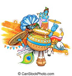 Happy Janmashtami - illustration of Lord Krishana in Happy...