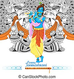 Lord Krishana in Happy Janmashtami - illustration of Lord...