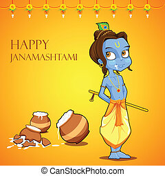 Lord Krishana in Janmashtami - illustration of Lord Krishana...