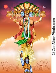 Lord Krishana showing Vishvarupa Darshan - illustration of...