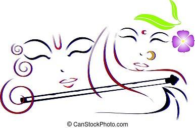 Illustration of Lord Krishna and Radha