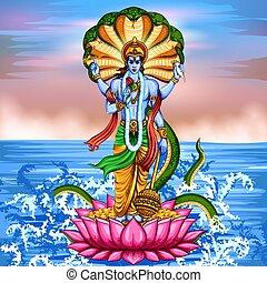 Lord Vishnu standing on lotus giving blessing - illustration...