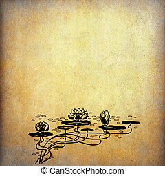 Illustration of lotus flowers on old paper