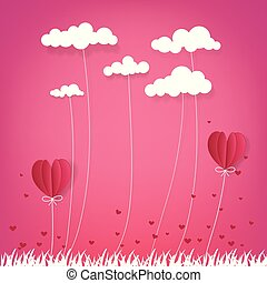 illustration of love and valentine day, Hot air balloon flying over grass with heart float and cloud on the sky. paper art style