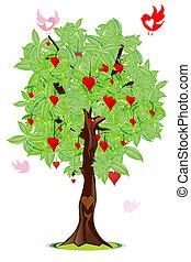 love bird flying around tree with heart