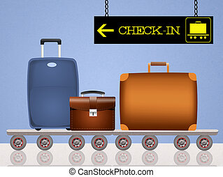luggage boarding - illustration of luggage boarding