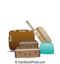 luggage - illustration of luggage on white background