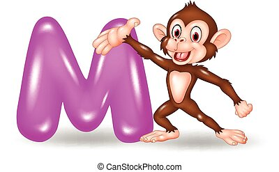 Illustration of M letter for Monkey