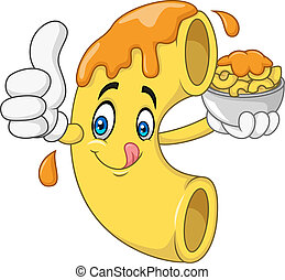 Illustration of Macaroni and Cheese Cartoon Character
